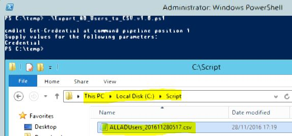 Export Active Directory USERS in un file .CSV 02